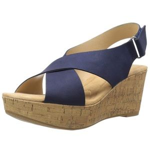 CL by Laundry Dream Girl Navy Wedge Sandal